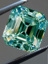 3.23 Ct VS1/8.53Mm BLUE COLOR LOOSE EMERALD MOISSANITE DIAMOND 4 RINGS/PENDANT