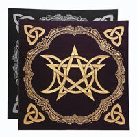 Triple Moon Pentagram Altar Tarot Cloth Decor Divination Cards Wicca Velveteen