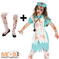 Zombie Nurse + Bloody Tights Girls Fancy Dress Halloween Horror Kids Costume