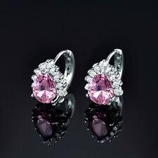 18K white gold filled love charm flower pink Swarovski crystal stud hoop earring