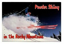 Powder Skiing in the Rocky Mountains Postcard Colorado Atomic Arc Skiis Unposted