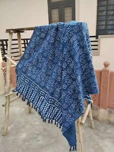 Handmade Cotton Mud Cloth Décor Bedroom Throws Indian Blanket Indigo Blue Print
