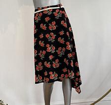 Influence Black Skirt Red Floral D Ring Rope Belt Assymetric Hem Size XS EG101