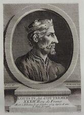 Antique Print Gravure Portrait LOUIS IV dit d'Outremer Boizot Fessard