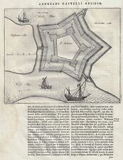 Fortified City Plan - ST ANDRIES - Copper Engraving - 1649