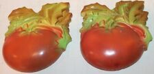 """2 Vintage Chalkware Tomatoes - 5 1/4"""" Tall - Wallhanging"""