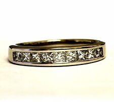 14k white gold .90ct SI1 H womens princess diamond wedding band 3g ring estate