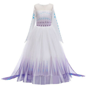 2019 New Girls Frozen 2 White Elsa Costume Party Birthday Dress + Cape 2-10 Yrs