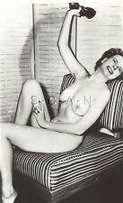 Original Vintage 1940s-50s Nude RP- Endowed Brunette Sits in Striped Chair
