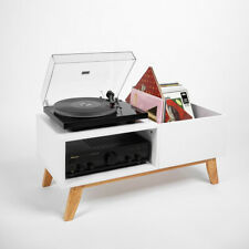 Record Box - Record Player Lowboard White / Natural Wood
