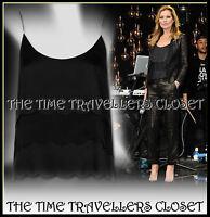 Kate Moss Topshop Black Scallop Trim Camisole Vest Top Cami Blouse UK 8 RRP £45