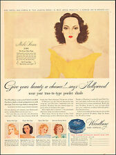 1941 Vintage ad for Woodbury Face Powder`Art actress Merle Oberon   (071217)