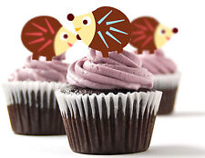 ✿ 24 Edible Rice Paper Cup Cake Topper, decorations - Hedgehog ✿