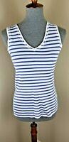 Zara Basics Women's Size Medium White Blue Striped Sleeveless V-Neck T-Shirt