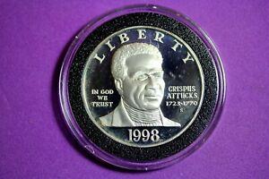 ESTATE FIND 1998 S Crispus Attucks Revolutionary War Proof Silver Dollar #M7858