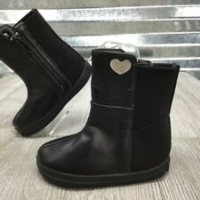 Stuart My First Weitzman Black Leather Textile Stretch Calf Silver Stud Boot 3C