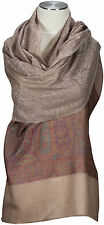 Jacquard Schal edel Taupe Pink Wolle Seide Paisley Stola scarf Foulard Echarpe