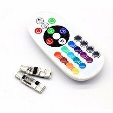 2 PCS Multi Color T10 6/12SMD RGB LED Car Reading Light Lamp Bulb+Remote Control