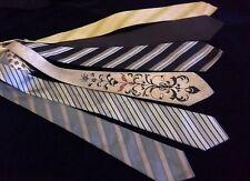 retro vintage x wide neck ties NEUTRAL TONE SET Viking Connoisseur jacquard '70s