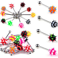 10pcs Fashion Rainbow Color Silico Ball Spiky Tongue Barbells Rings Body Jewelry