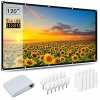 4K 60-120'' Projector Screen 3D Projection Home Cinema Theater 1080P HD 16:9/4:3