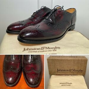 New in Box JOHNSTON & MURPHY Aristocraft Greenwich Sz 11 Burgundy Wingtip Shoes