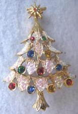 Vintage Antique Gold Crystal Rhinestone Christmas Tree Fashion Brooch/Pin