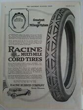 1919 Racine Goma Company Múltiple Mile Cuerda Tires Vintage Anuncio
