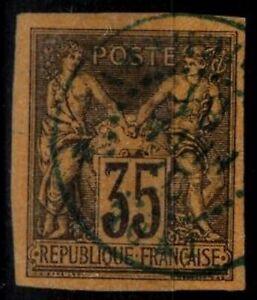 COLONIES Générales : Cachet PONDICHERY sur SAGE n°45 = Cote 100 € / Lot Timbre