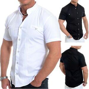 D&R Fashion Mens Short Sleeve Shirt Band Mao Collar Cotton White Black Slim Fit