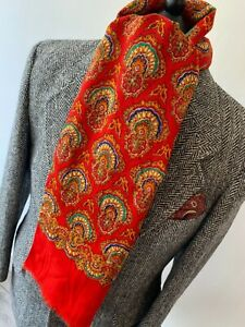 FABULOUS mens indie/mod 1970's red retro ornate psychedelic pattern long scarf