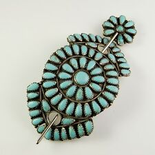 Turquoise Hair Clip Hairclip Barrette Comb 925 Sterling Silver Native American