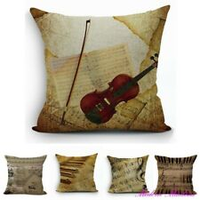 Linen Printed Music Theme Cushion Cover 450x450mm Select from 8 Designs!
