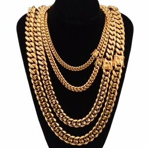 Men Chain Cuban Link, 8mm10mm12mm Curb Necklace 18K Gold Thick, Solid No Tarnish
