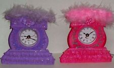 PINK OR PURPLE GIRLS VOGUE CLOCK w/ MARIBOU * CHOICE OF 4