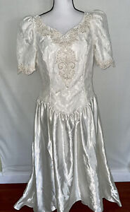 VTG ALFRED ANGELO JCPENNY Embroided Lace High Low Ivory Wedding Dress size 14.