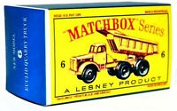 Matchbox Lesney No 6 EUCLID 6 WHEEL QUARRY TRUCK empty Repro style D Box
