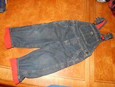3T Oshkosh B'Gosh Fleece Lined Denim Blue Jeans Overalls Pants