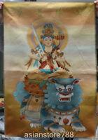 """36"""" Tibet Silk Satin Wenshu Manjushri Guan Yin Goddess Lion Thangka Tangka Mural"""