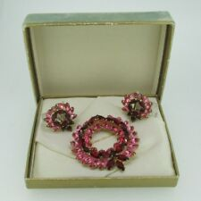 Vintage Gold Tone Kramer Pink & Red Stone Brooch Pin Clip Earring Set
