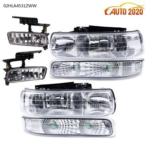 Headlights+Fog Lights For 1999-2002 Chevy Silverado 2000-2006 Tahoe Suburban New