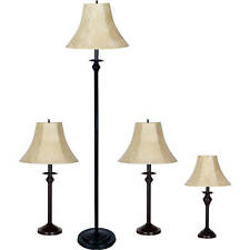 4 PIECE LAMP SET Living Room Floor Table Warm Light Decor Bedroom Accent Shade