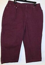WOMENS JEANOLOGY COLLECTION BURGANDY  CAPRIS  SIZE 14
