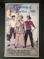LOS ANGELES Fire Department LAFD Centennial 1886-1986 Poster Art Print 14x22