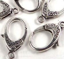 31x17mm X-Large Antique Silver Pewter Lobster Claw Clasps (5)