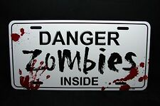ZOMBIE METAL NOVELTY LICENSE PLATE TAG FOR CARS ZOMBIE DANGER ZOMBIES INSIDE
