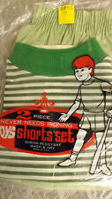 Vtg 60's Boy's Shirt/Shorts 2 pc Play Set NOS sz 8 Green/White Sportswear USA