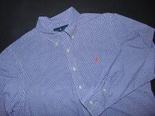 RALPH LAUREN Button Front Shirt ~ XL ~ 100% Cotton ~ Checks ~ Purple & White