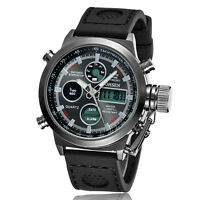 OHSEN Mens Date Multi-function Military Sport Quartz Wrist Watch Silicone Band