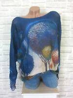 ITALY Strick Shirt Pulli Pullover mit Schönem Print 38 40 42 Blau E820 Neu